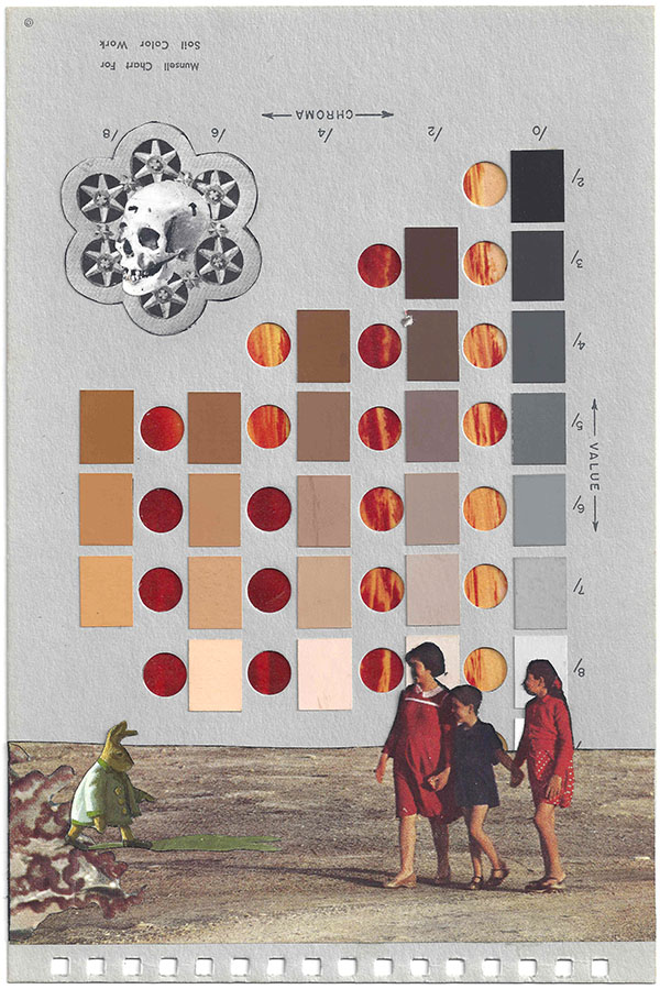 Collage by Chad Yenney featured a Munsell Color Chart, children and a skull