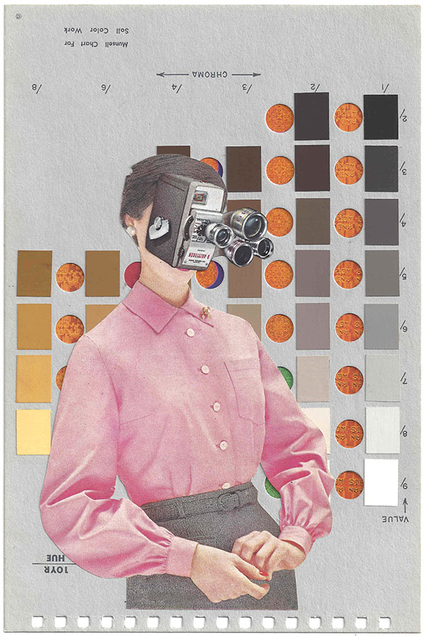 A collage by Chad Yenney featuring a Munsell color chart,