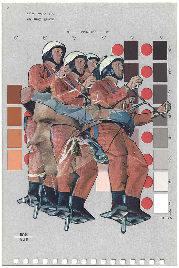 A collage by Chad Yenney featuring a Munsell color chart and men in parachutes
