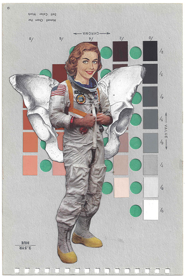 A collage by Chad Yenney featuring a Munsell color chart and a woman astronaut standing in front of a skull