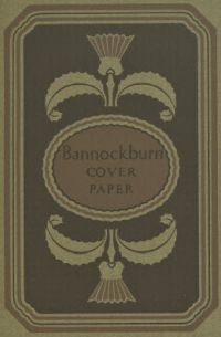 Decorative design demonstrating color combinations for Grouse Drab colored Bannockburn Cover Paper.