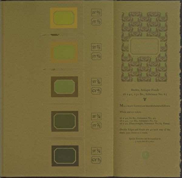 Color Sheet page from the 1921 book, A Grammar of Color, for Millcraft Cover Paper manufactured in Brown, Antique Finish.