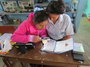 Students learning to use the Munsell Color Book to record data from ceramic sherds curated in the museum at their school, Maria Parado De Bellido in Nivín, Peru.