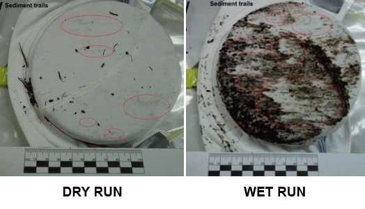 Two diagrams showing wet vs dry soil trails on bra fabric