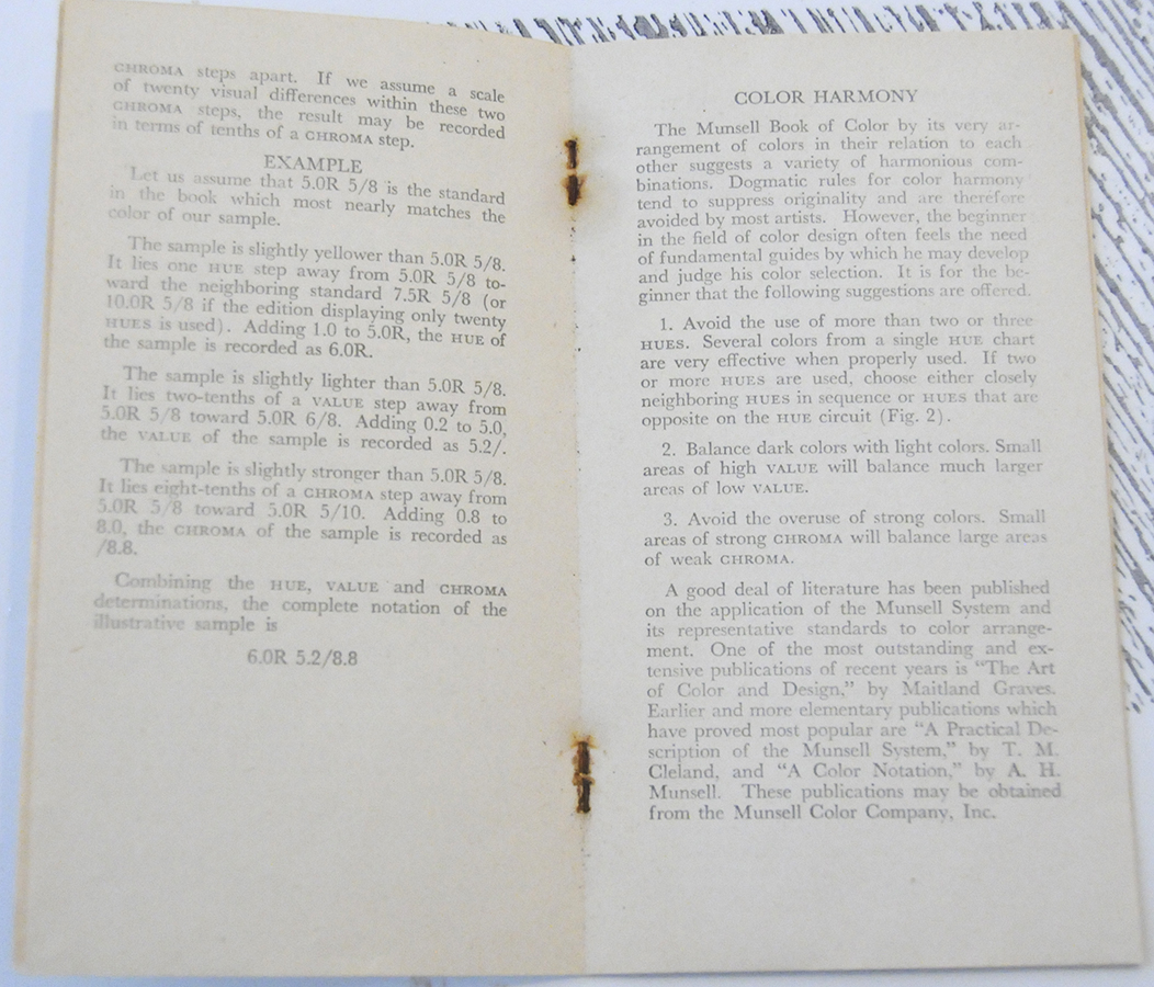 Directions for the Use of the Charts: Munsell Book of Color Pocket ...
