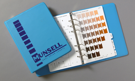 The 1975 edition of the Munsell Soil Book as a 6 ring binder with a bright blue cover