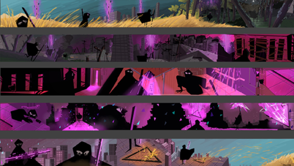 Panels of stills from a film showing the concept and symbolism through color choices