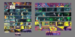 A group of stills from a film showing color relationships between frames