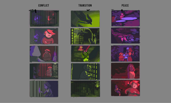3 concepts in film using different color palettes to represent them