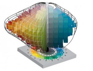 The Munsell color space showing hue, value and chroma in a 3D, tree like shape