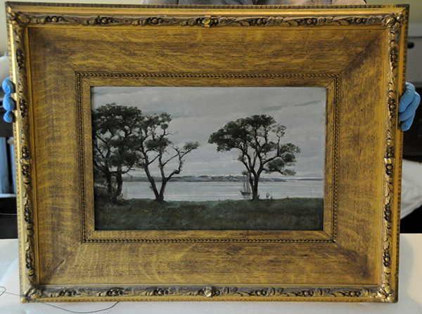 Albert Munsell Campobello painting of the lake view in gilded frame