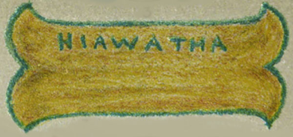 A Hiawatha canoe in yellow and green from Plate 2 of A Color Notation