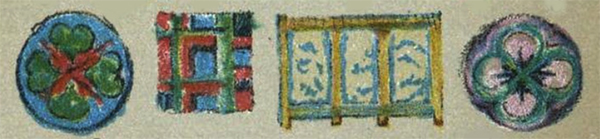 A series of rosettes and borders for teaching color to students