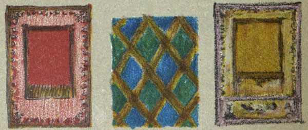 3 borders and frames in various color combinations from Plate 2 of A Color Notation