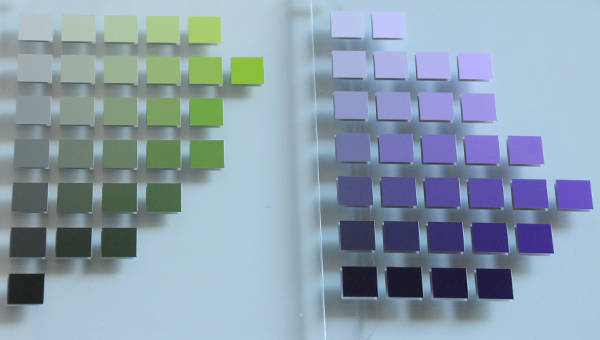 A Munsell green-yellow and purple color chart side by side for comparison
