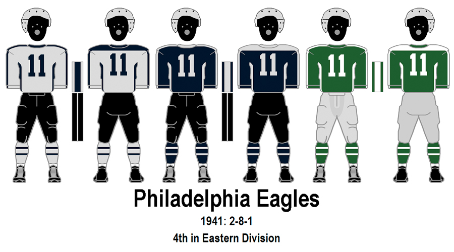 Illustration of the Philadelphia Eagles silver, blue, and green uniform colors in 1941