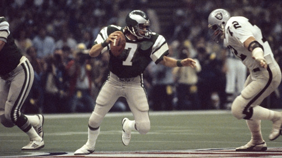 A photo of the Philadelphia Eagles playing in the 1981 Super Bowl in green and white