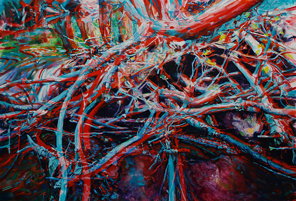 Painting of a beaver dam in blue and red intended to be viewed with 3D glasses.