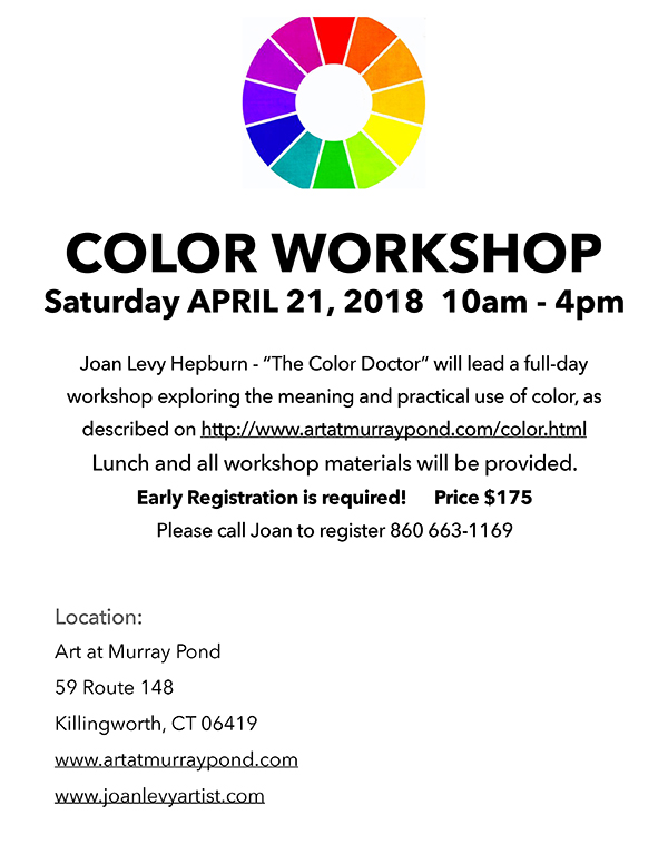 Flyer for the color workshop with Joan Levy Hepburn