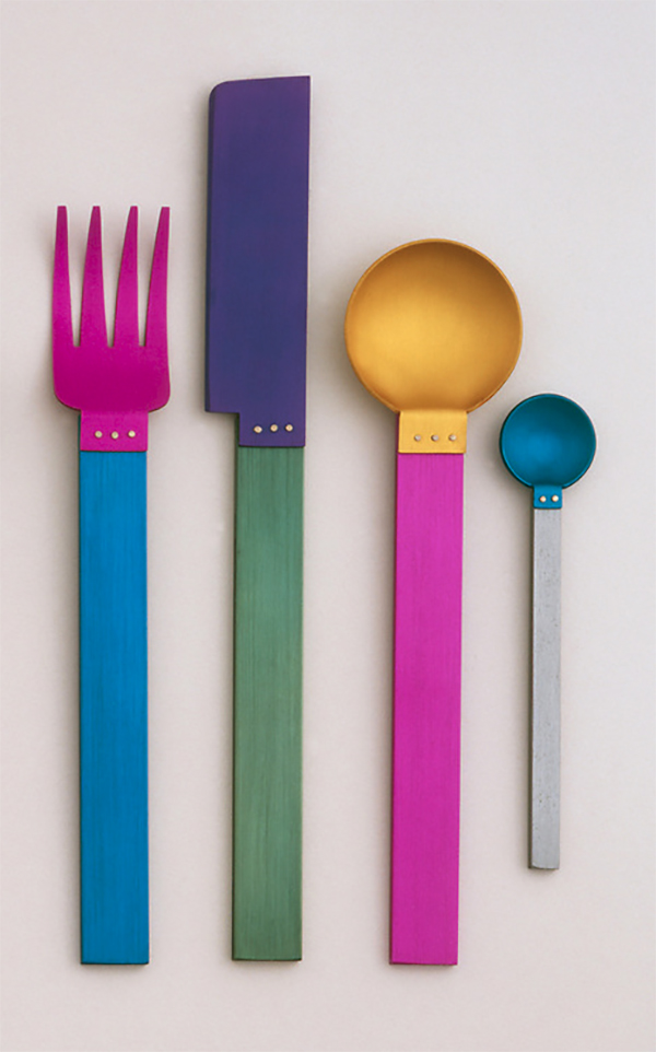 Flatware fork, knife, and two spoons in beautiful, vibrant pinks, greens, blues, and gold