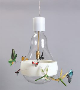 J.B. Schmetterling hanging clear lamp with white highlights and butterflies attached
