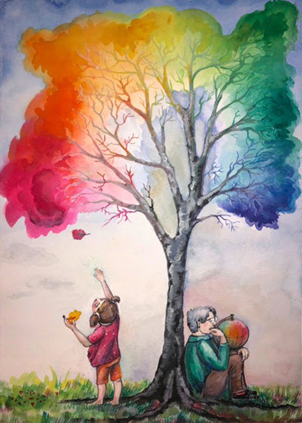 The Color Tree by Masha Hemmerling shows Albert Munsell holding the original color tree and a little girl grabbing a leaf off a colorful tree in various hues