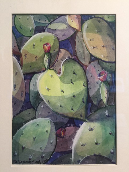 Heart shaped cacti on paper in watercolor and acrylic by Masha Hemmerling